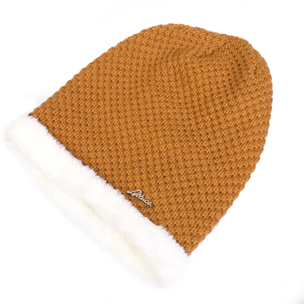 Men Coral Fleece Knitted Beanie Earmuffs Skiing Hats
