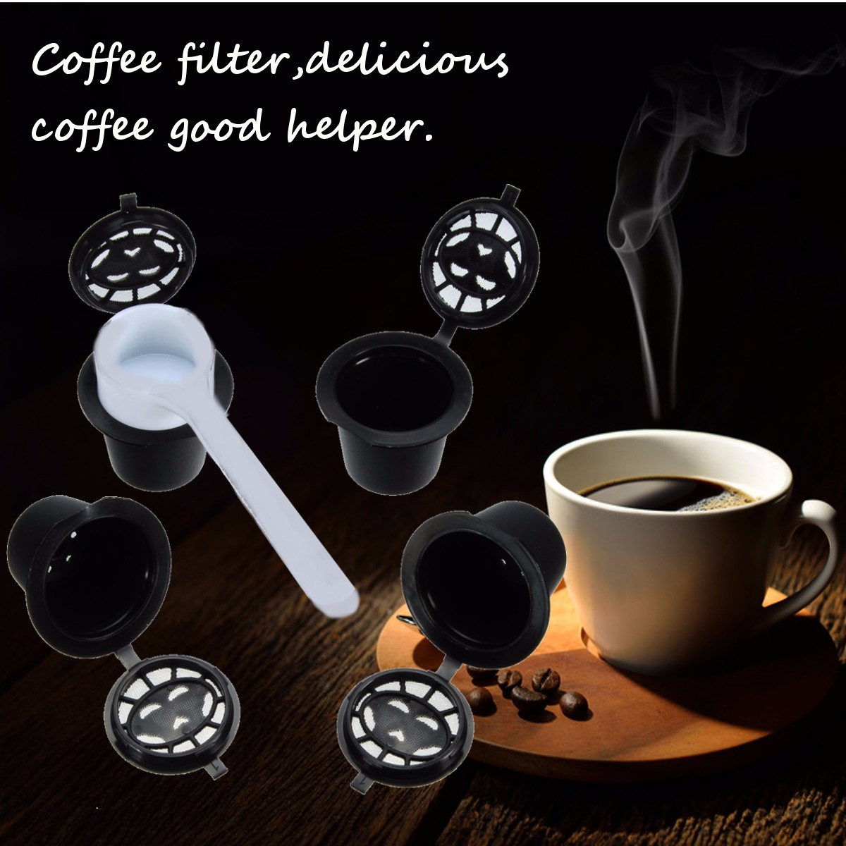 4 Pack Refillable Reusable Coffee Capsules Pod For Nespresso Stainless Steel Filters