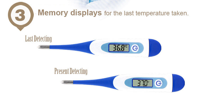 Loskii YD-202 Digital LCD Soft Head Body Thermometer Rectal Oral Axillary Underarm Body Temperature Measurement for Infant Baby Adult