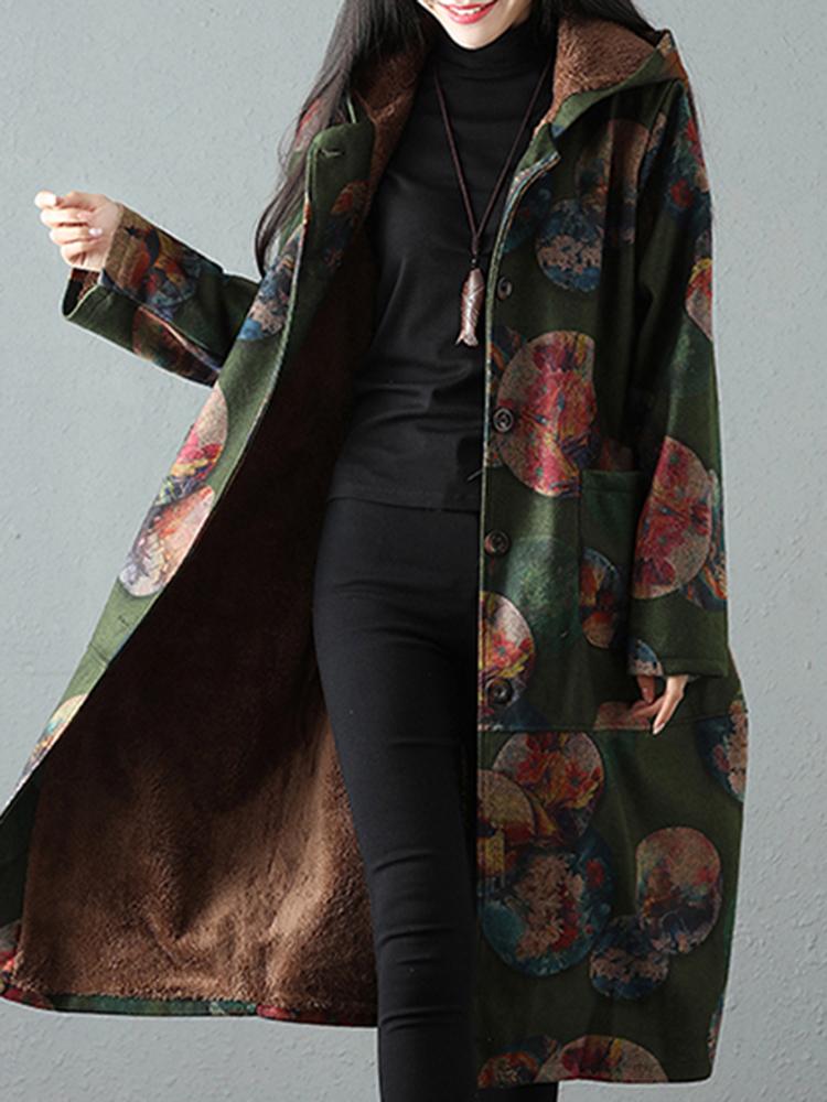 Vintage Women Print Loose Long Sleeve Thick Hooded Coats