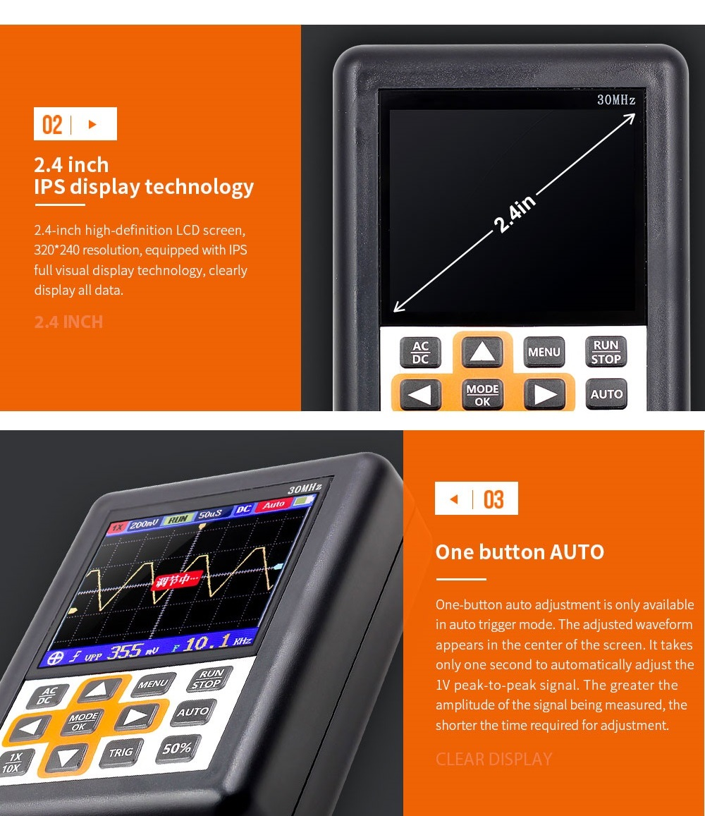 DSO338 Handheld Oscilloscope 30MHz Bandwidth 200M Sampling Rate 2.4 Inch IPS Screen 320*240 Resolution Technology Built-in 64M Storage Built-in 3000mah Lithium Battery