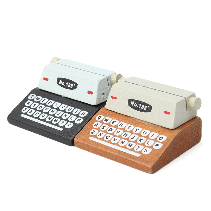1Pcs Mini Retro Typewriter Desktop Figurines Wooden Message Note Clip Pictures Photo Holder