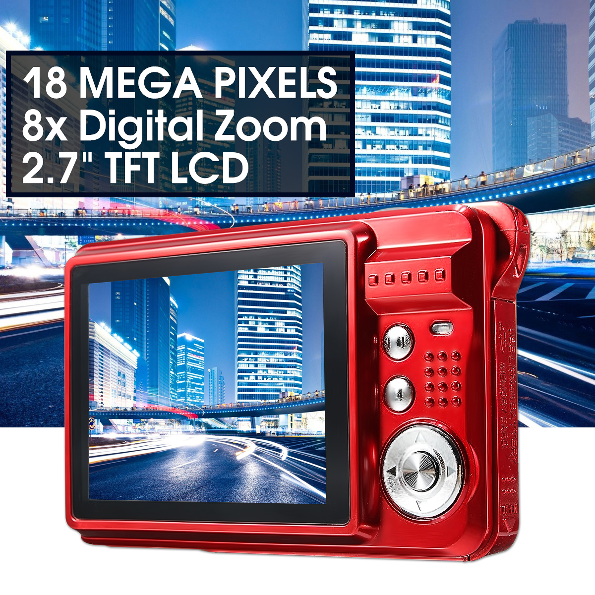 2.7 Inch TFT Lcd Display 18MP 8x Zoom Hd Digital Anti Shake Camera Camcorder