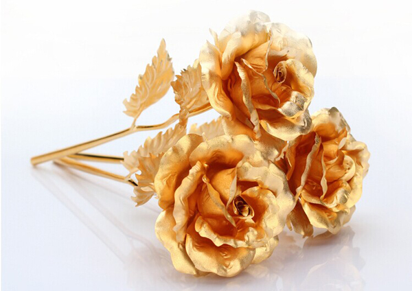224k Gold Foil Plated Rose Gold Leaf Rose Wedding Supplies Valentine 's Day Birthday New Year Gifts Decorative Flowers