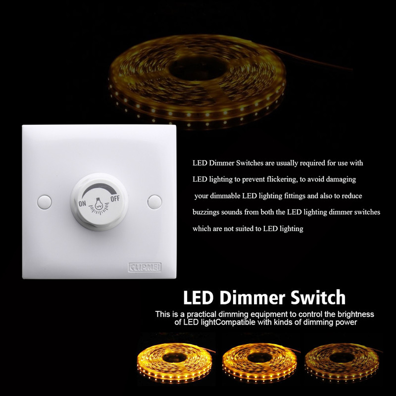 220V LED Dimmer Single Light Rotary Switch for Dimmable Lighting White