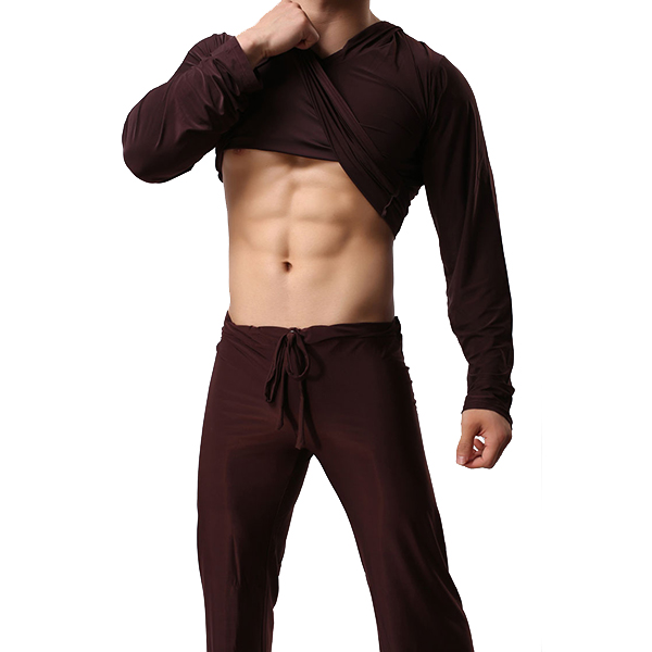 Soft Silky Comfortable Casual Home Elastic Loose Thin Solid Color Men Hooded Yoga Sleepwear Tops