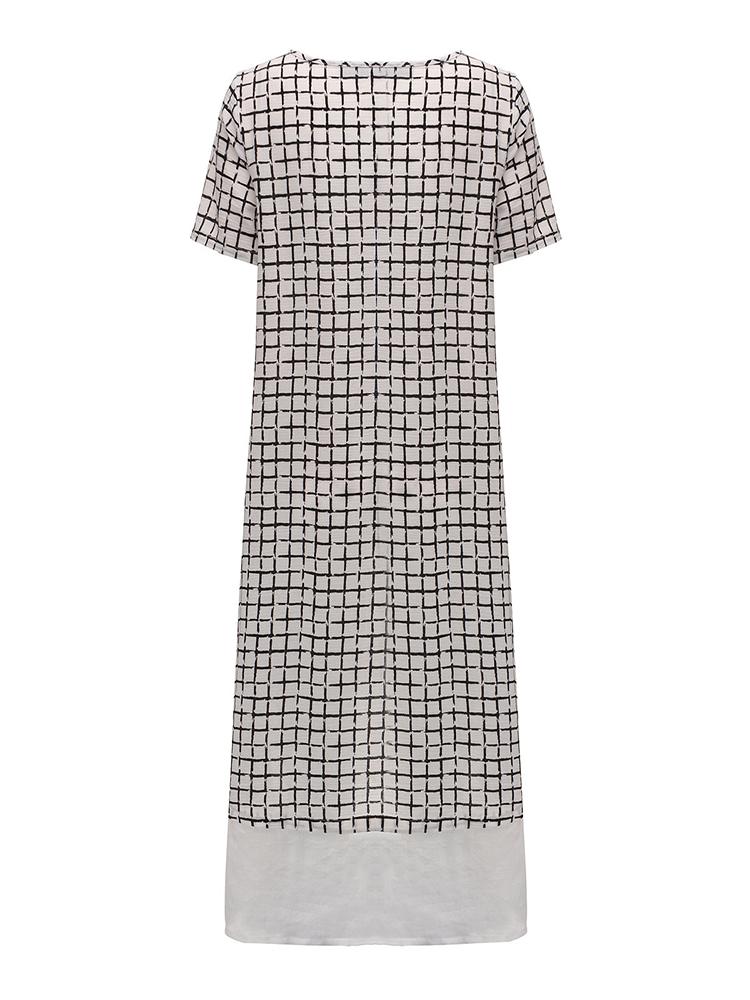 Elegant Women Plaid Short Sleeve Asymmetric Hem Midi Dress