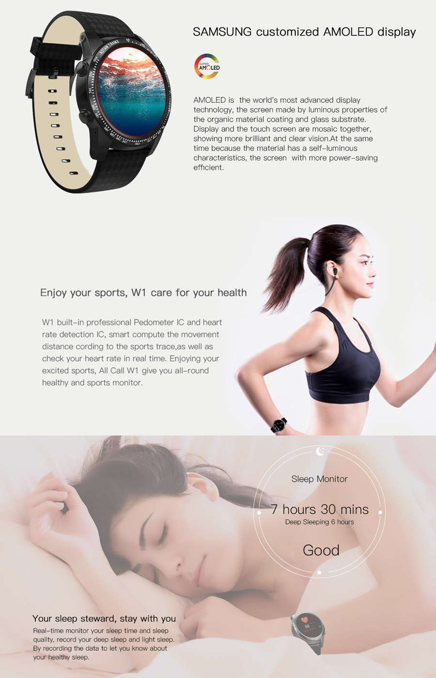 AllCall W1 3G Smart Watch Phone Android 5.1 MT6580m 2G+16G Heart Rate Monitor Smart Watch