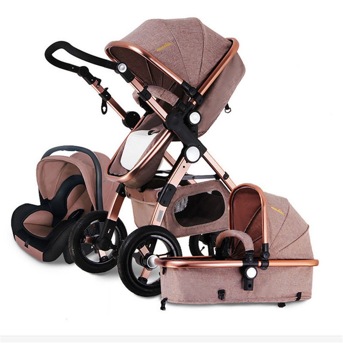 Фото #1: Banggood 3 IN 1 Multifunction Baby Stroller High View Pram Foldable Pushchair Bassinet Car Seat