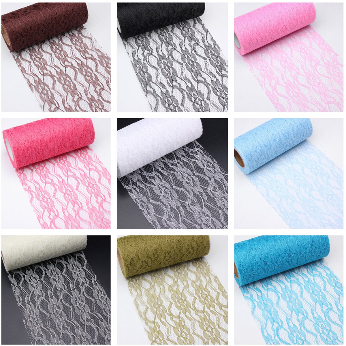 10 Yards Vintage Lace Roll Fabric Tulle Table Runner Chair Sash Wedding Party Decoration