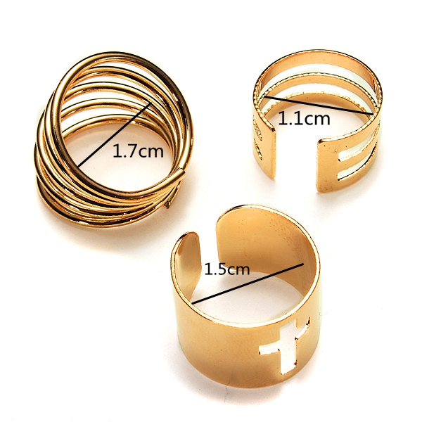 3Pcs Hollow Cross Stack Knuckle Rings