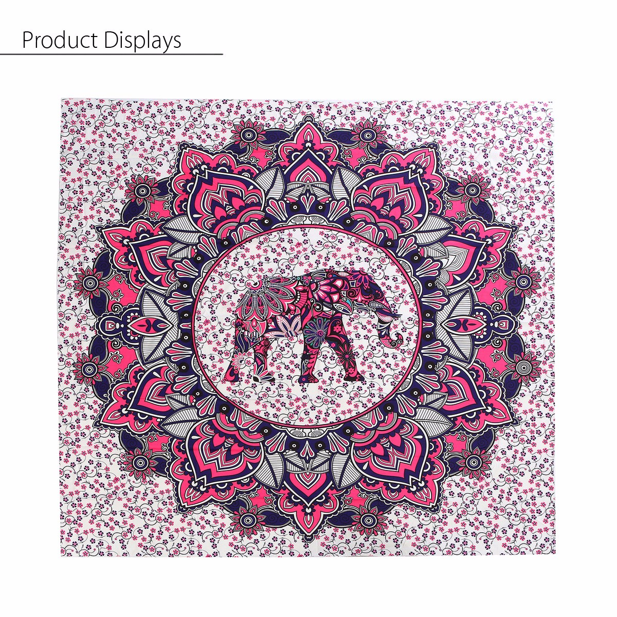 India Elephant Mandala Purple Tapestry Blanket Beach Towel Throw Yaga Bedspread Curtain