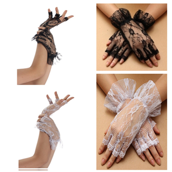 Women Ladies Fingerless Lace Gloves With Ruffle