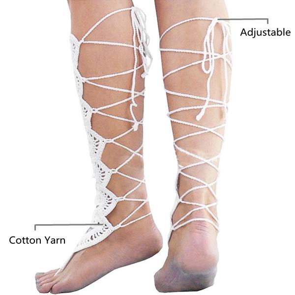 Barefoot Sandals Crochet Cotton Wedding Anklet