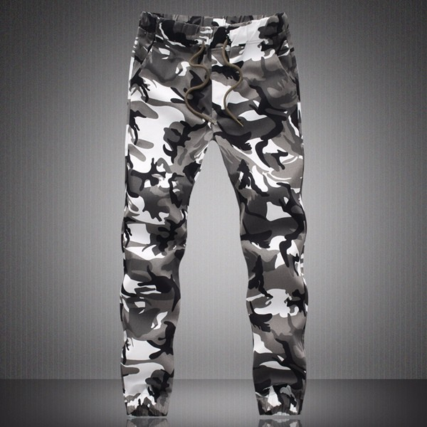 Men's Spring Large Size Drawstring Pencil Camo Painting Casual Pants