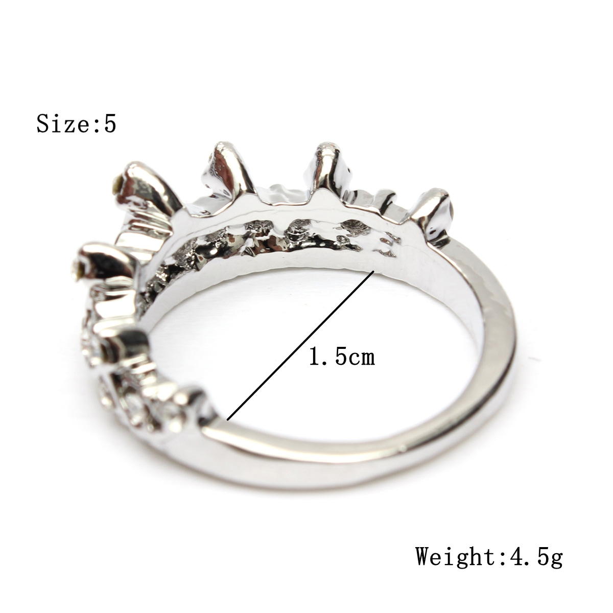 Crystal Queen Crown Silver Plated Ring