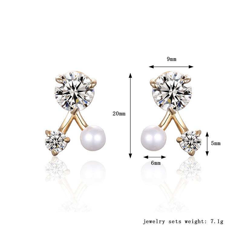Trendy Women Earrings Triangle Pearl Crystal Earrings