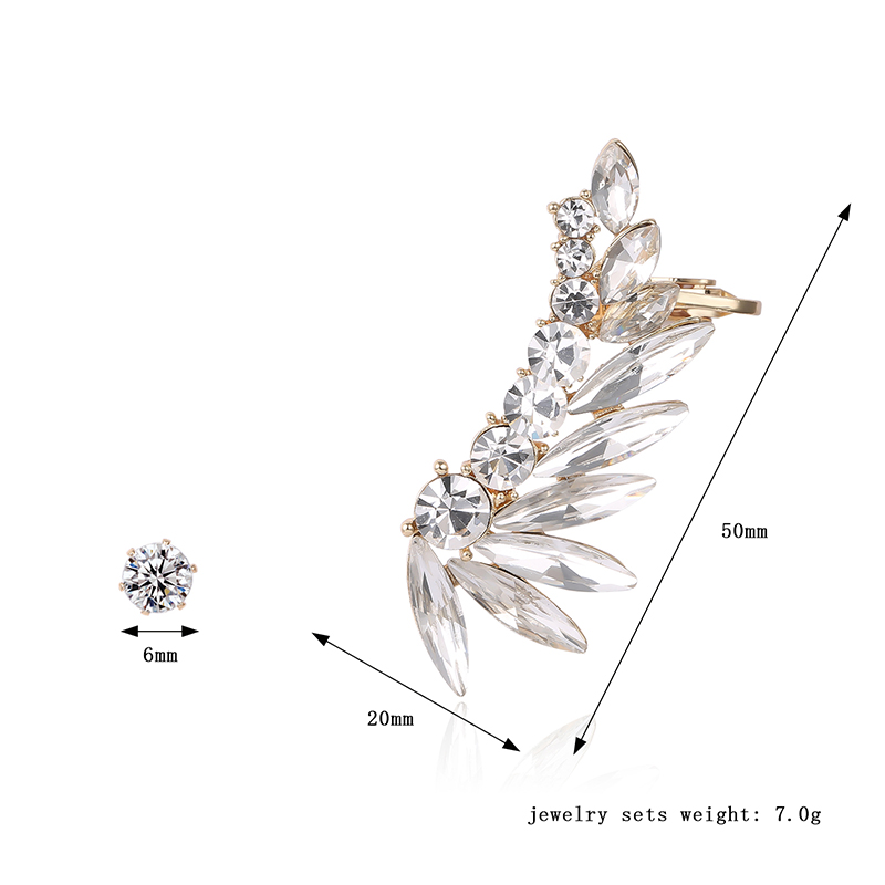 Luxury Women Earrings Rhinestone Crystal Ear Clip