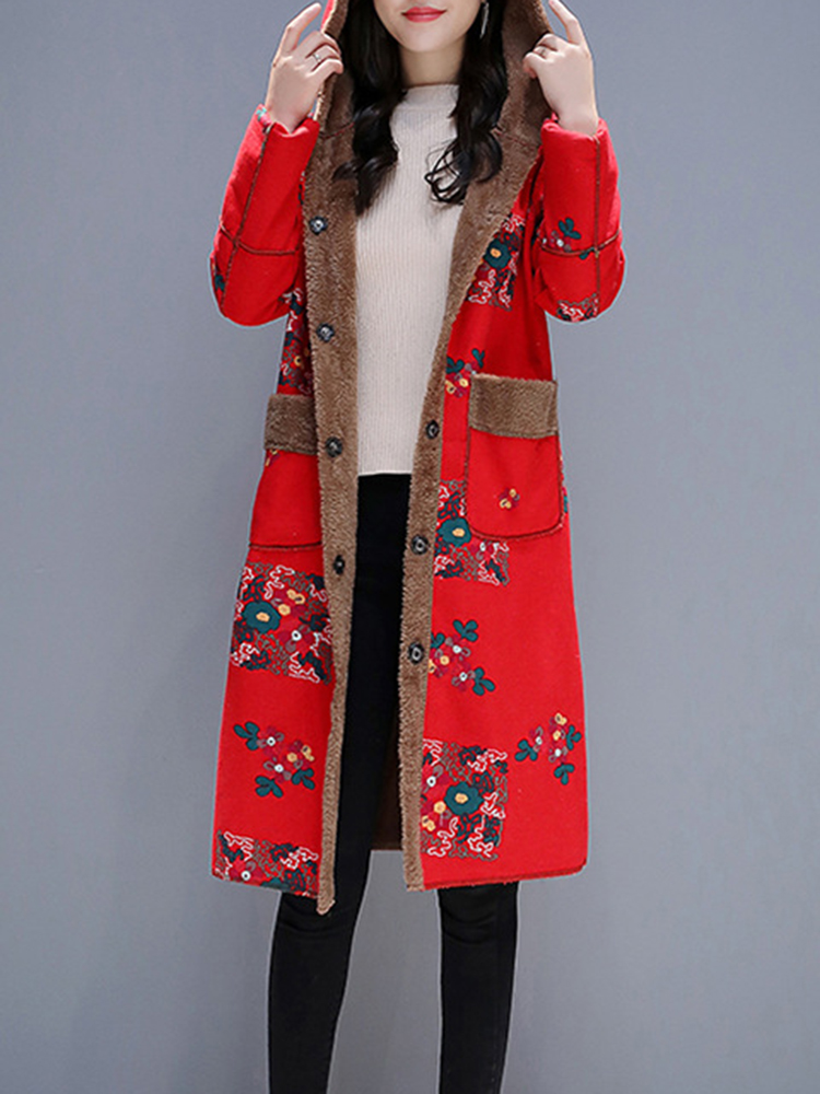Women Vintage Floral Print Button Long Hooded Coats