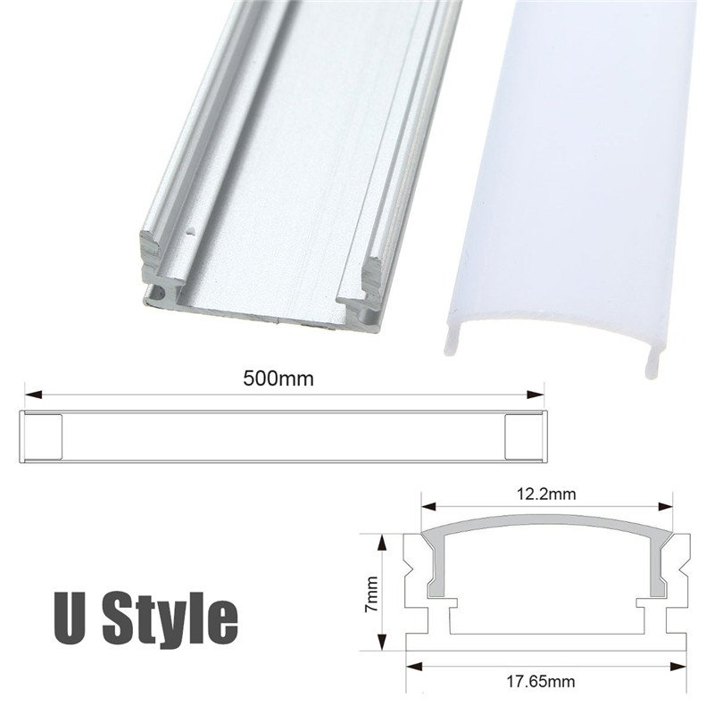50cm U/YW/V-Style Aluminum Extrusions Channel Holder For LED Strip Bar Under Cabinet Light