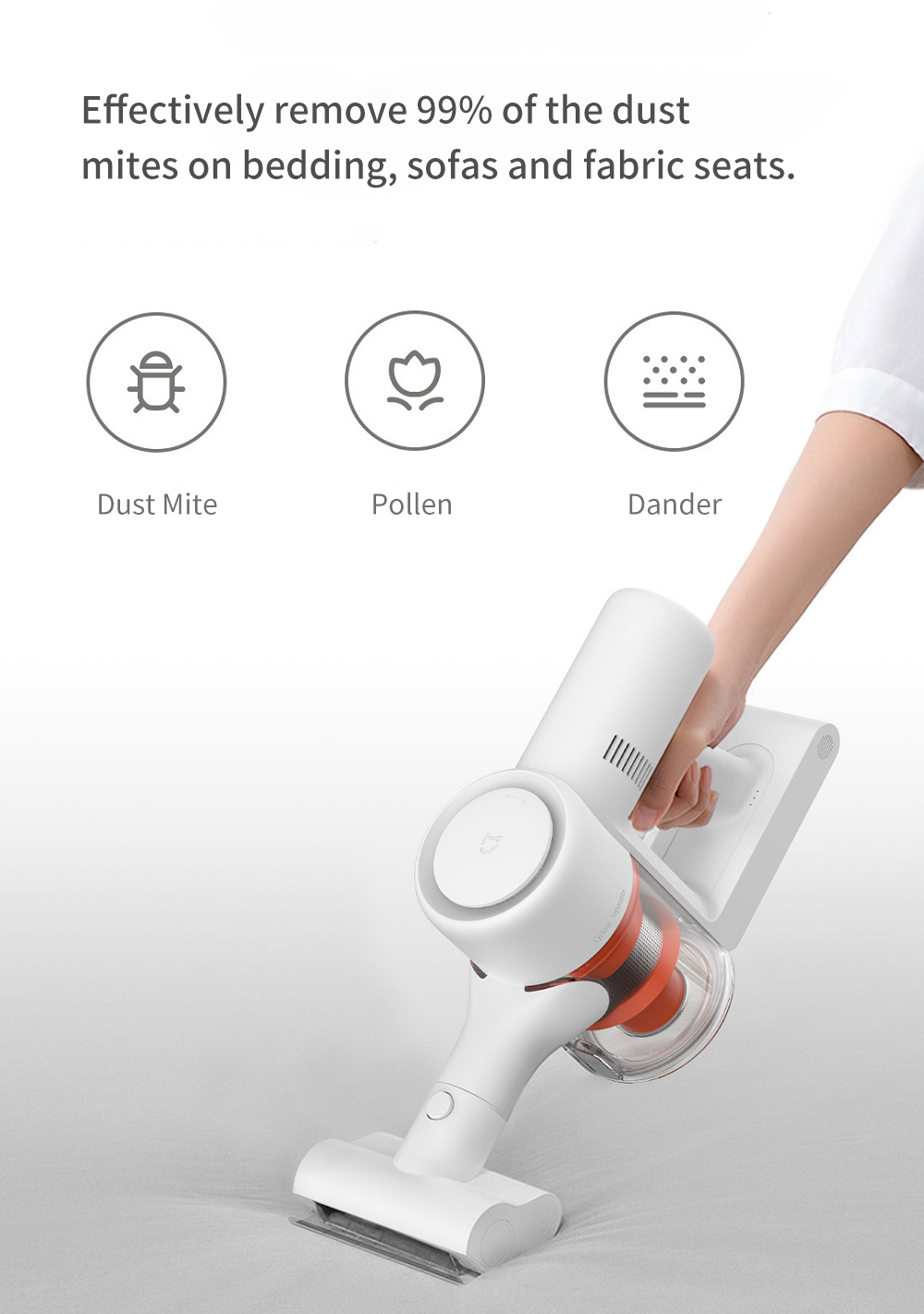 2019 Xiaomi Mijia 1C Handheld Cordless Vacuum Cleaner 20000PA Strong Suction, 10WRPM Brushless Motor, 120AW Suction Power, Deep Mite Removal, 60min Long Battery life