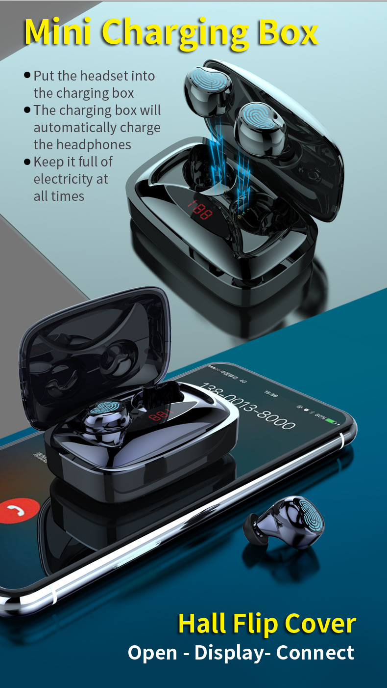 X29 TWS Wireless Stereo Dual bluetooth 5.0 Earbuds LED Display Smart Touch 6D Sound Earphone Binaural Headset With 2000mAh Charging Case