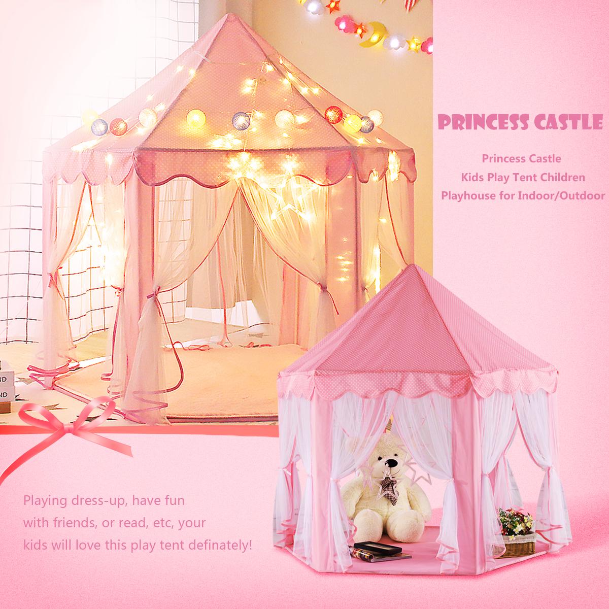 Pink Girls Castle Play Tent Princess Playhouse Children Kids Indoor Toys