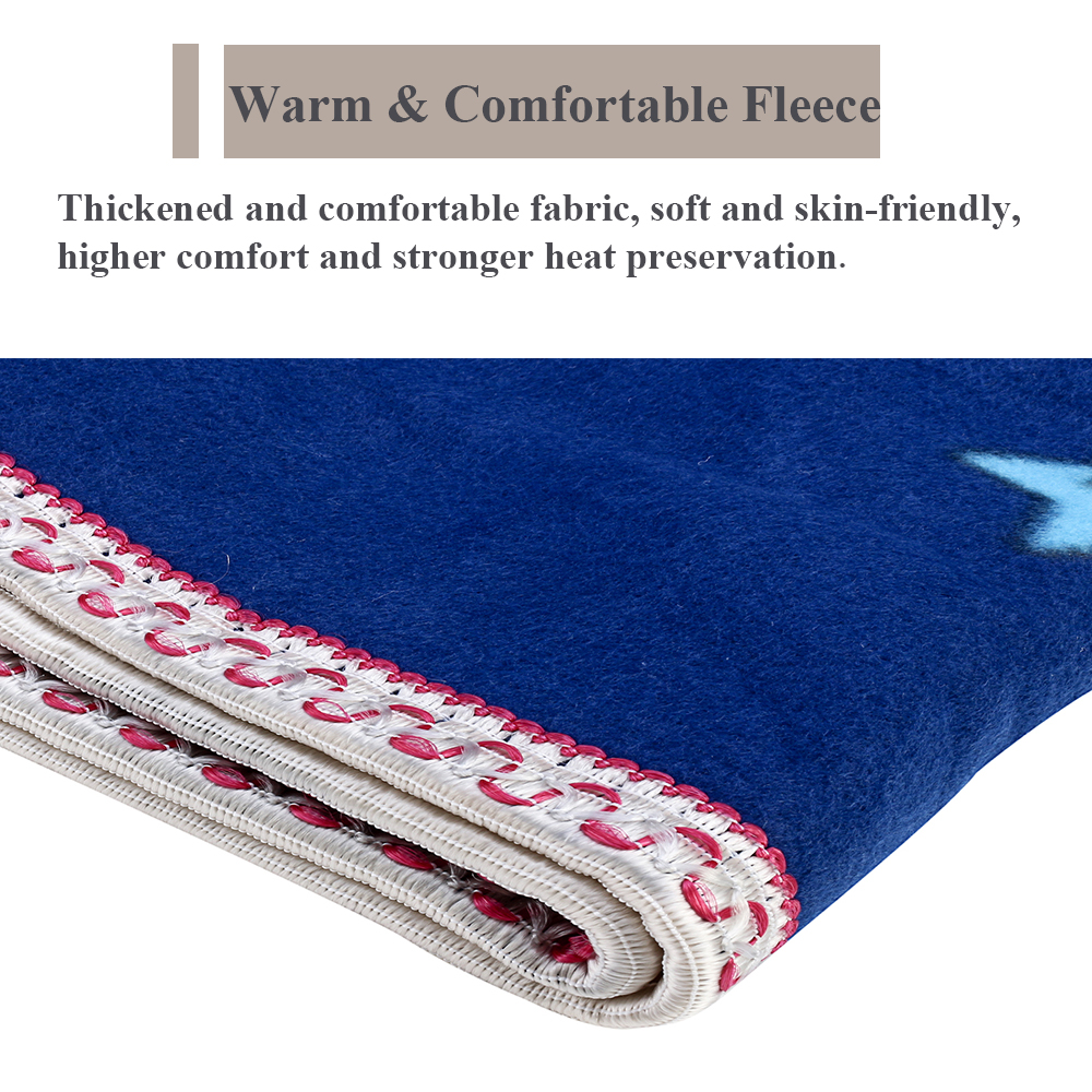 Electric Heated Throw Blue Over Under Blankets Bed Washable Soft Warm Mattress