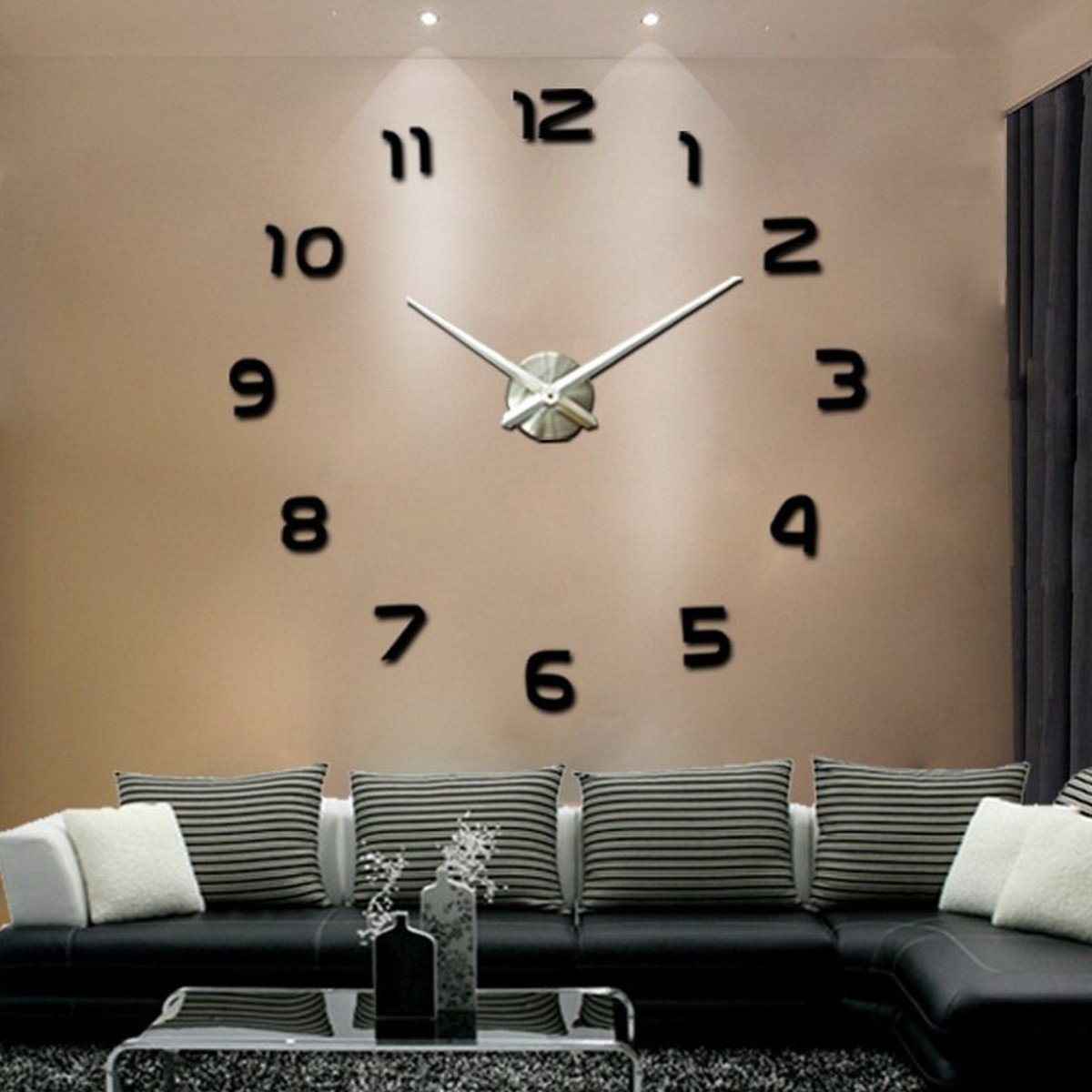 Large 3D Number Mirror Wall Sticker DIY Home Decor Big Watch Art Clock Wall Clock