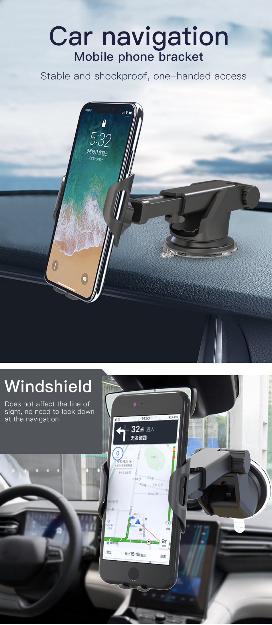 Bakeey Gravity Linkage Automatic Lock Dashboard Car Mount Car Phone Holder For 3.5-6.0 inch Smart Phone