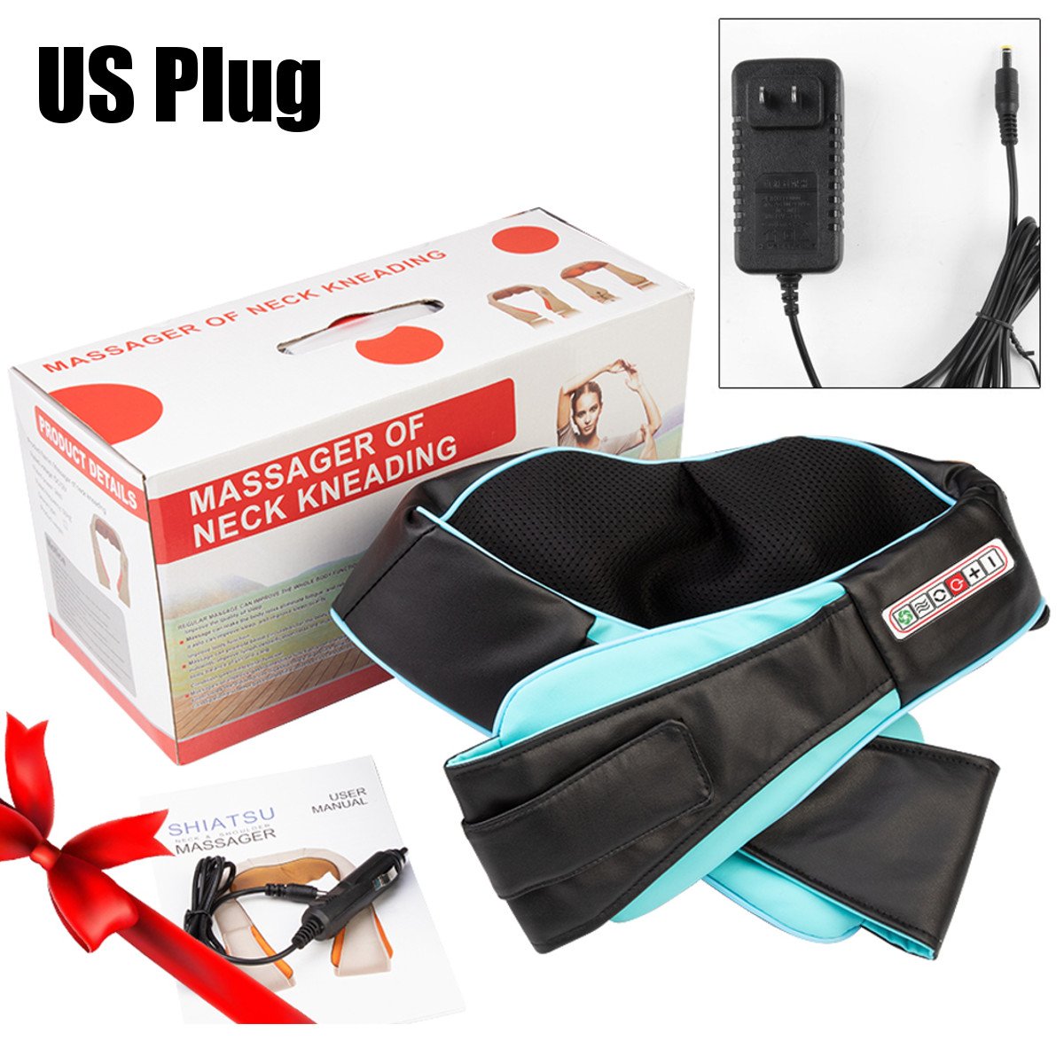 U Shape Electric Car Heated Infrared Kneading Massage Shiatsu Round Neck Shoulder Body Spa Massager Machine Home Car Use