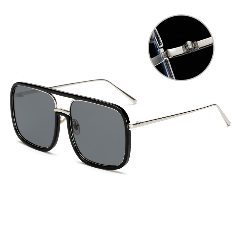 Mirror Square Large Frame Transparent Anti-UV Sunglasses