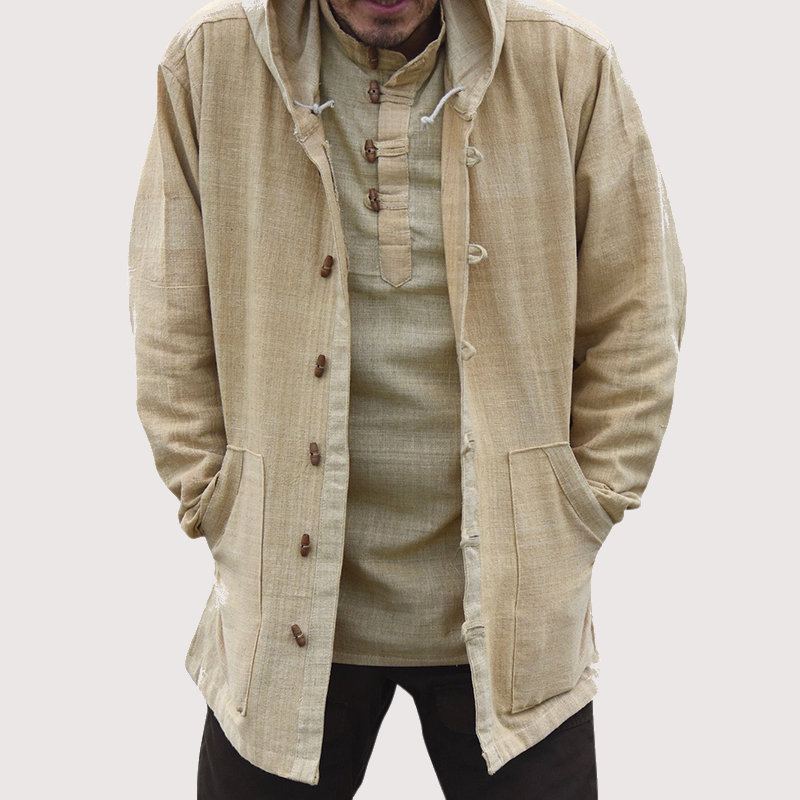 Mens Vintage Chinese Style Cotton Hooded Buckle Big Pocket Plus Size Coats