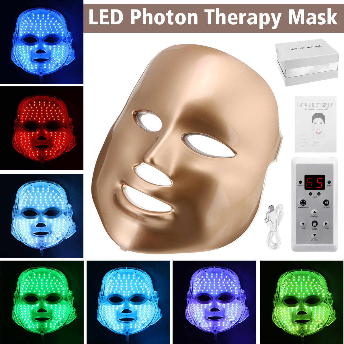 7 Color Light Treatment LED Photon Gold Therapy Mask