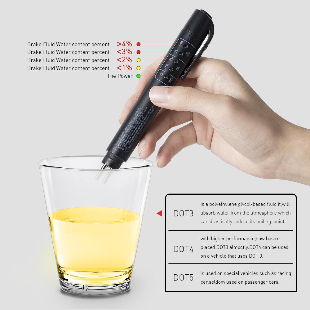 Mini LED Car Brake Fluid Tester Pen Brake Liquid Testing Examiner Detector Vehicle Diagnostic Tool Check for DOT3/DOT4/DOT5 Battery