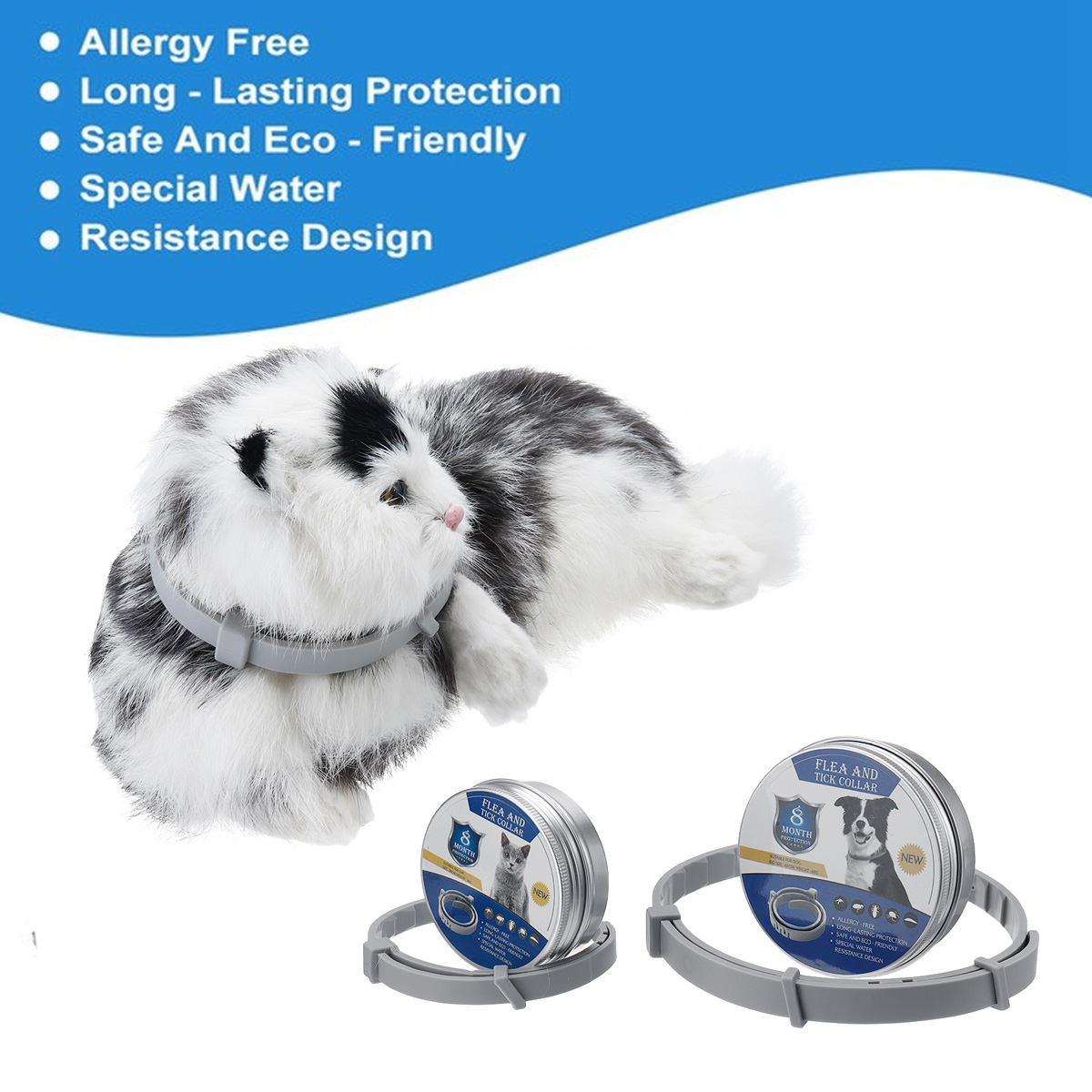 2 Size Adjustable Pet Flea Collar Flea and Tick Protection To 6 Months For Dogs And Cats