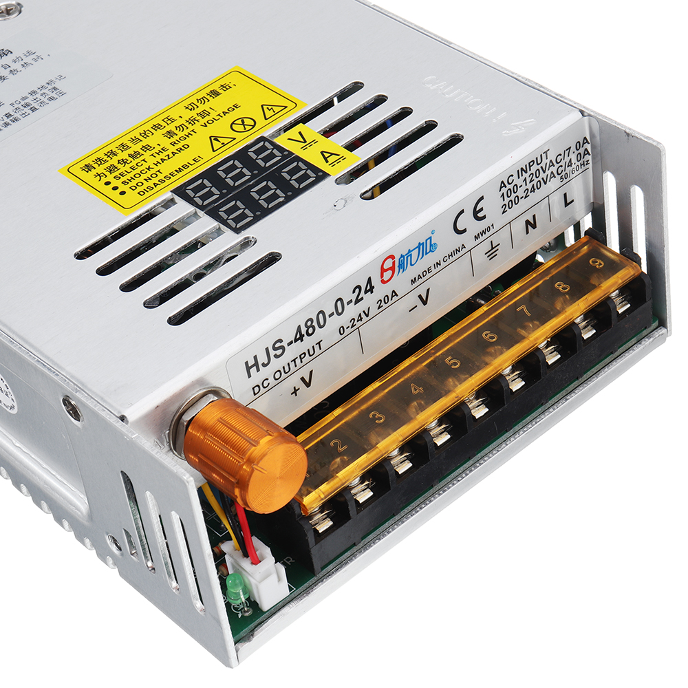 Switching Power Supply SMPS Transformer AC 110/220V to DC 0-12/24/36/48V 480W with Dual LCD Digital Display