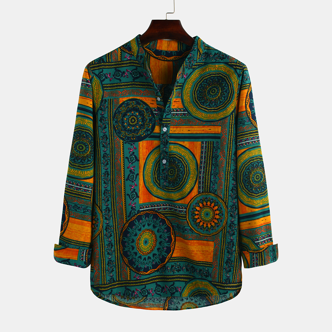 Mens Ethnic Style Retro Printed Cotton Henley Collar