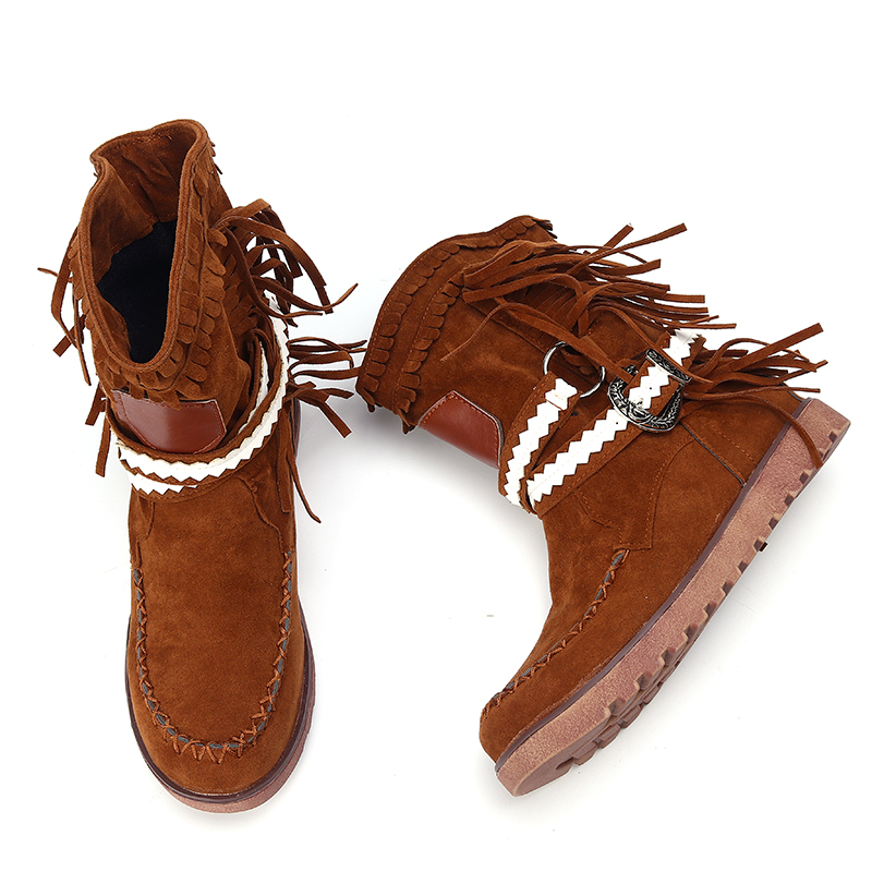 Women Tassel Fringe Middle Ankle Boots Fashion Buckle Motorcycle Flat Shoes