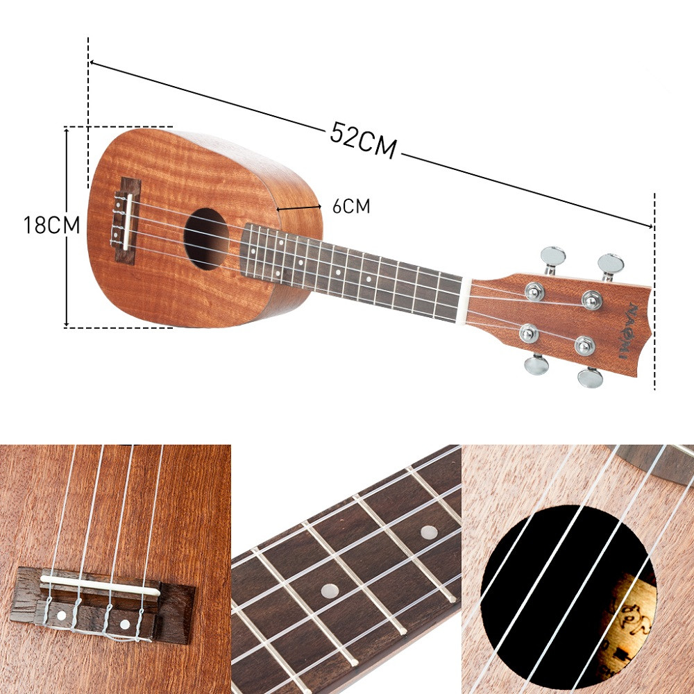 NAOMI 21/23/26 Inch 4 String Pineapple Shaped Sapele Ukulele Musical Instrument - Photo: 5