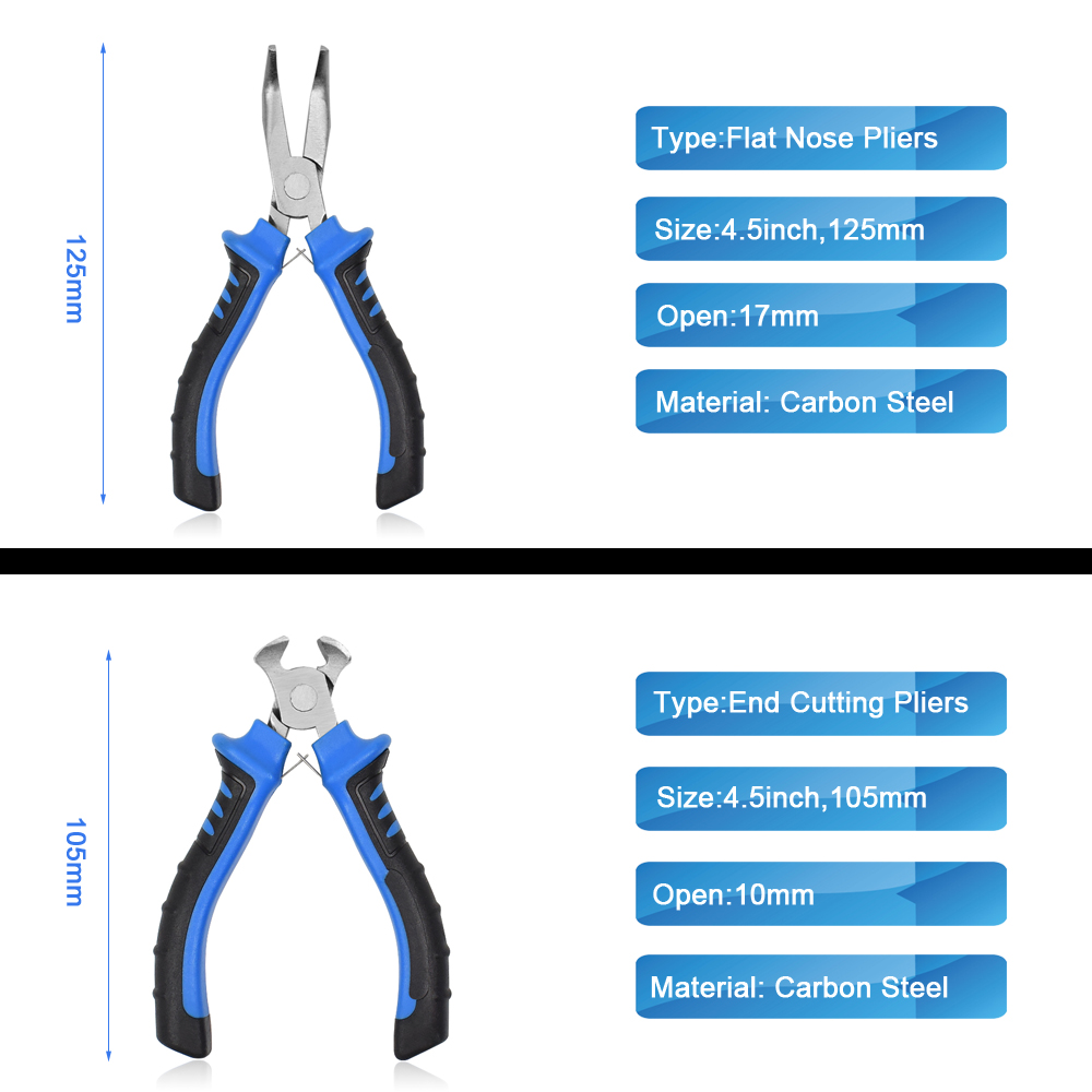 NEWACALOX 8Pcs 4.5inch Precision Pliers Set Mini Pliers Diagnoal Pliers Wire Cutting Long Nose Pliers Jewelry Making DIY Hand Tool Kit