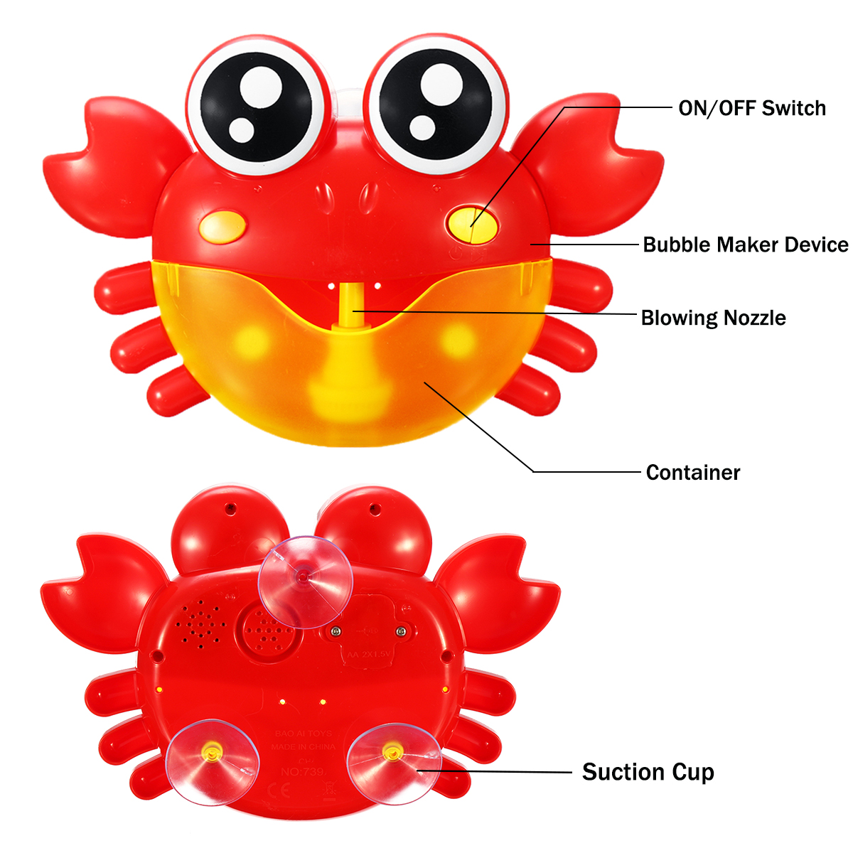 Crab Bubble Machine Musical Bubble Blower Maker Bath 7 Colorful Light Music Baby Kid