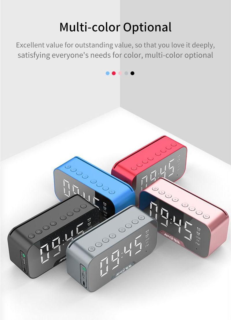 AMOI Wireless Bluetooth Speaker Portable Mini Double Alarm Clock FM Radio Subwoofer Phone Holder