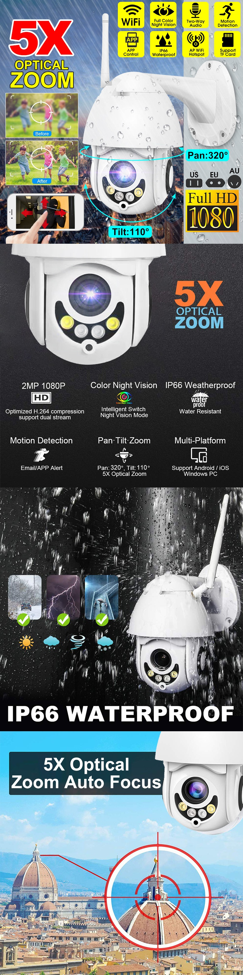 Bakeey 1080P HD Smart Wifi Speed Dome Camera Night Vision 360 Degree Auto Tracking 5x Zoom IP66 Waterproof Outdoor Surveillance CCTV Monitor