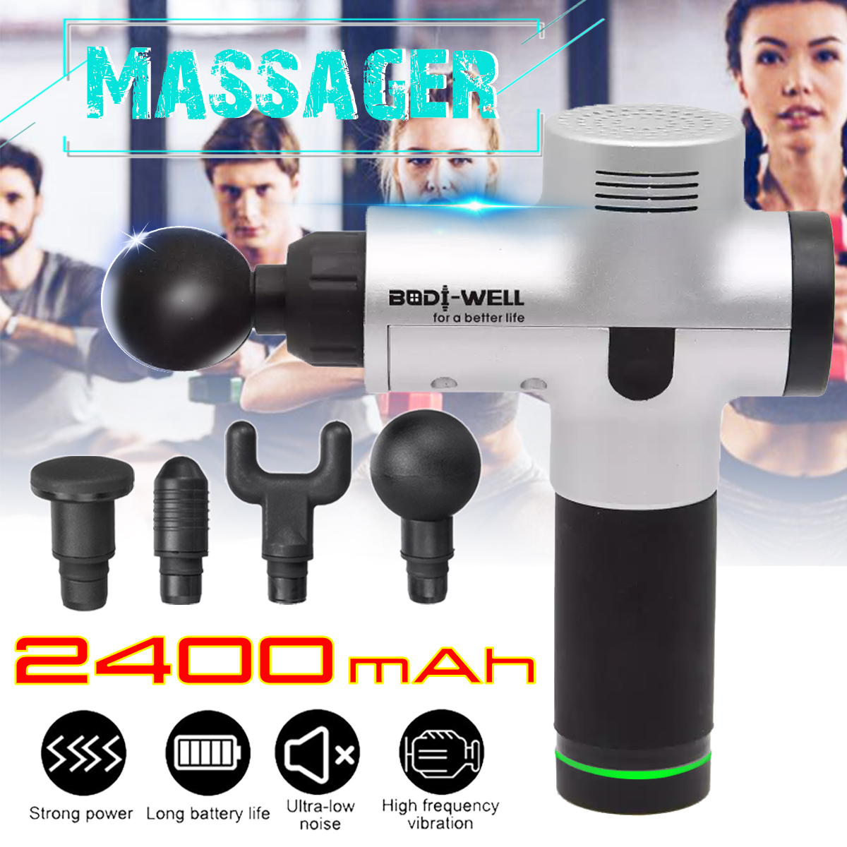 2400 mAh Percussion Massage Deep Tissue Electric Massager Cordless Massag Device for Body Pain Relief