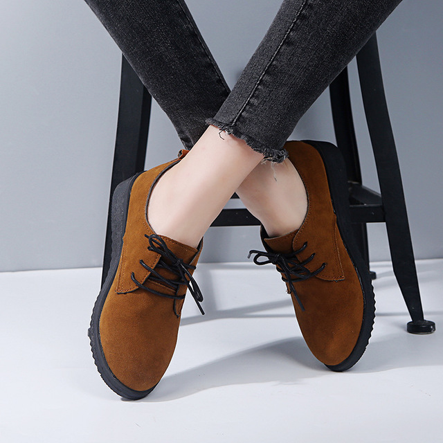 Women Casual Pure Color Lace Up Flats