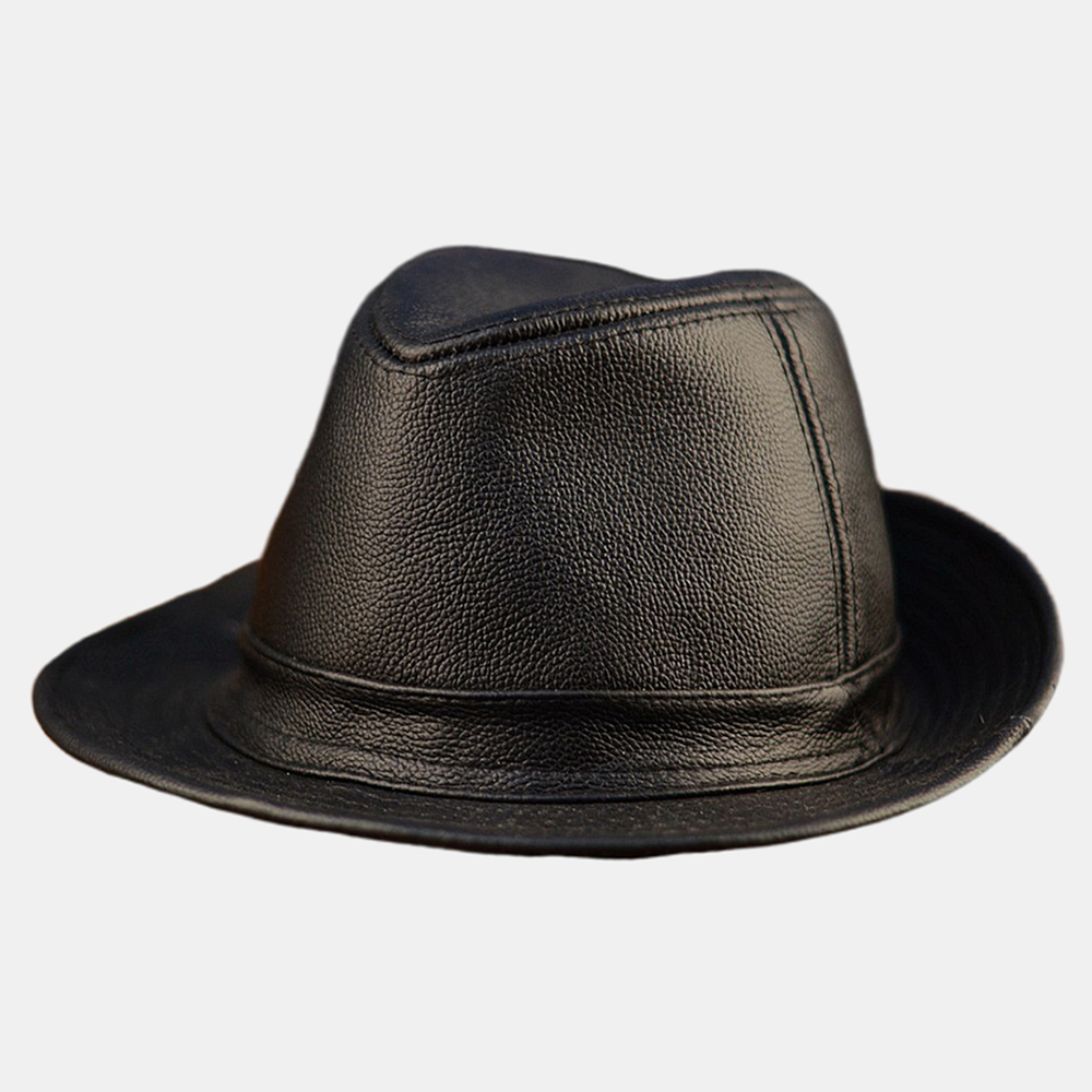 Mens Leather Hat Cowhide Hat Outdoor Leather Hat