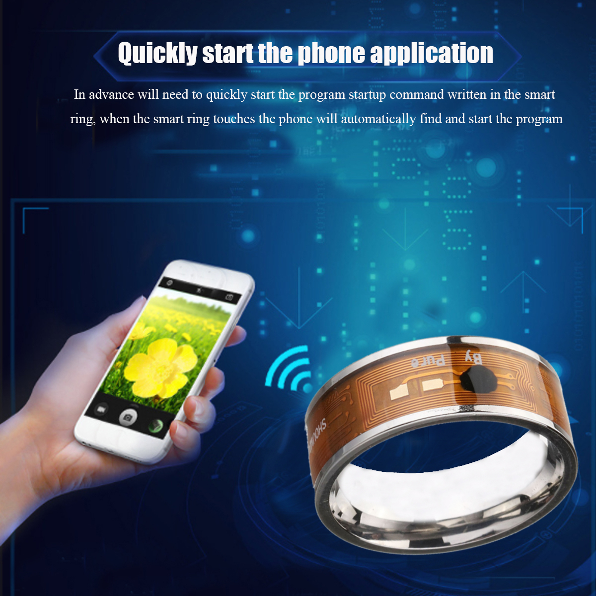 Blue Color NTAG213 NFC Tag Finger Ring Multifunctional Intelligent Ring Titanium Steel Smart Wear Finger Digital Rings for Men Women