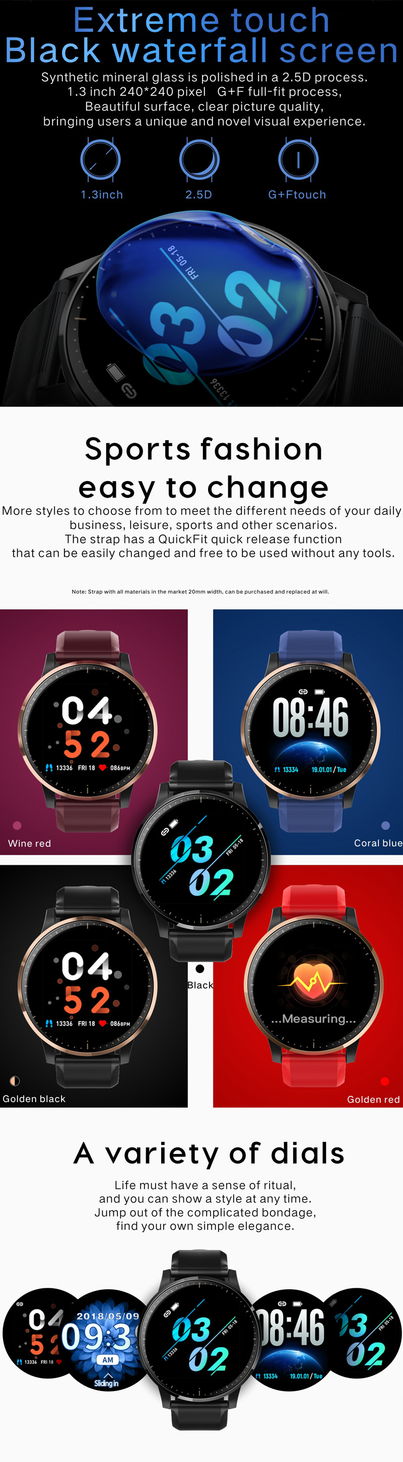 XANES® Q20 1.3'' Full Touch Screen IP67 Waterproof Smart Watch Heart Rate Blood Oxygen Monitor SMS Reminder Fitness Exercise Sports Bracelet