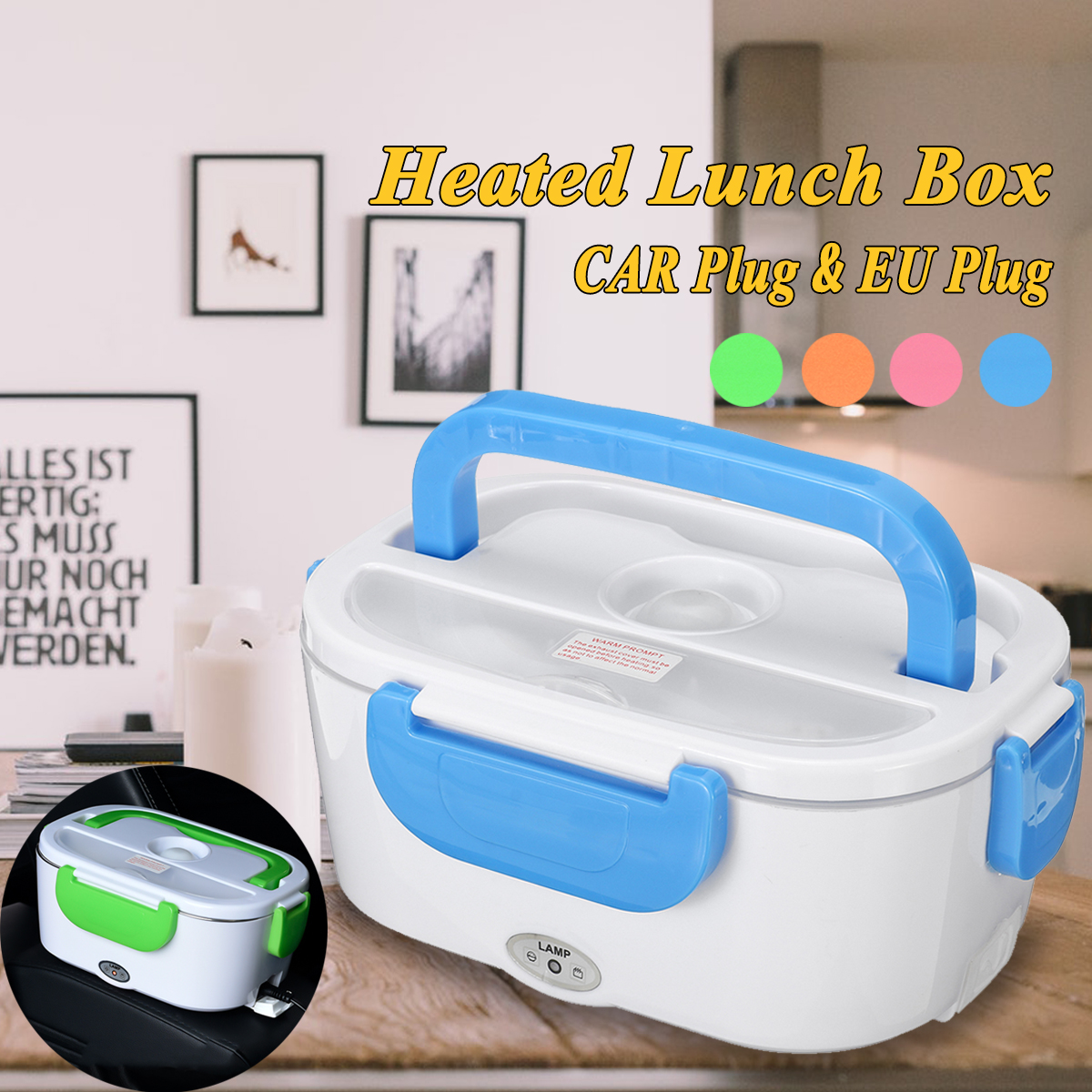 12V-24V/110V-240V 1.2L EU Plug Portable Removable Electric Lunch Box Car School Office Bento Box Food Heater Box